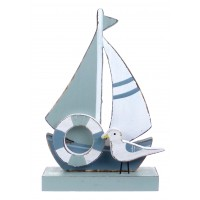 8221 - Wooden Sailboat with Seagull
